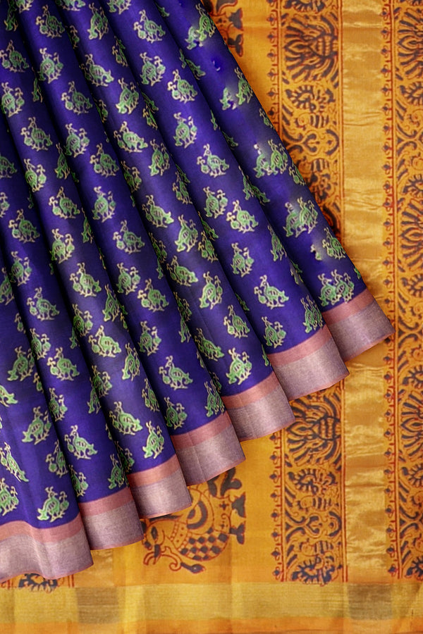Printed Silk Cotton Saree Navy blue and Honey Color with zari border