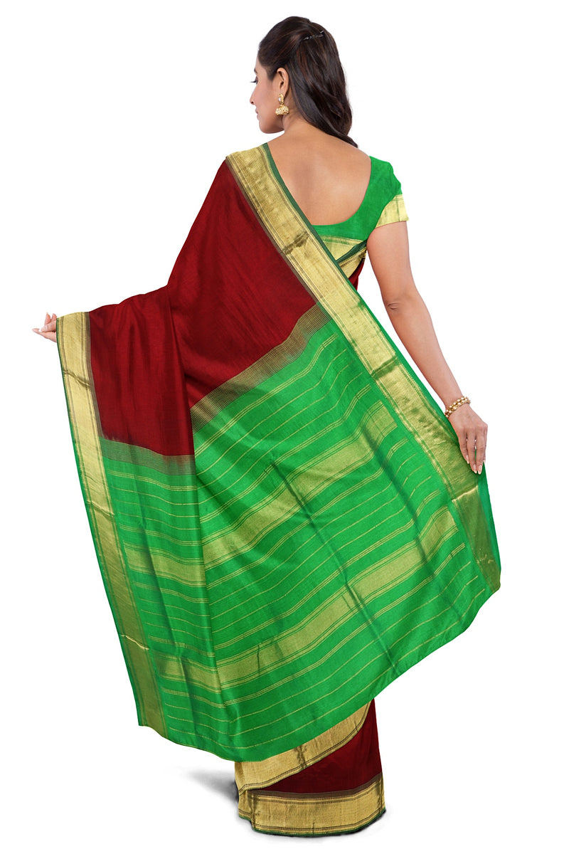 Silk Cotton Saree Maroon and Green with Zari border