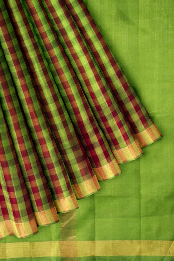 Silk Cotton Saree Small Checks Mehandi Green and Maroon with Zari Border