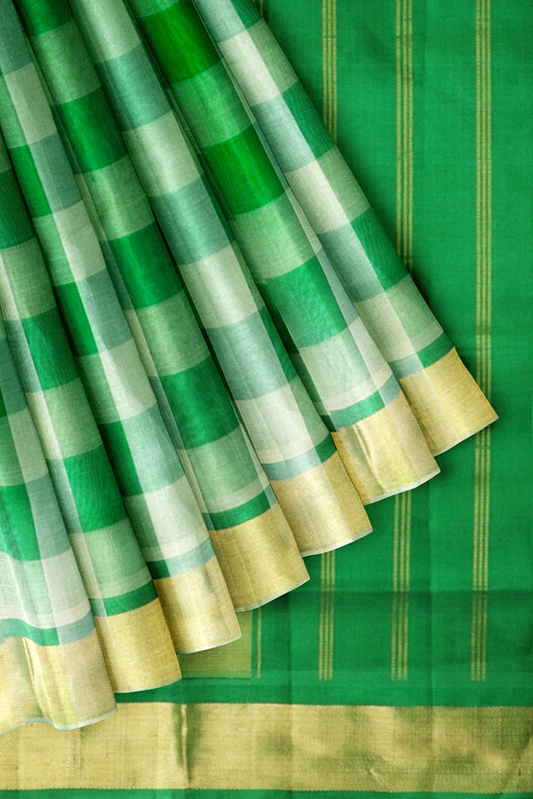 Silk Cottono Saree Green and Beige Paalum Pazhamum Checks with Zari Border