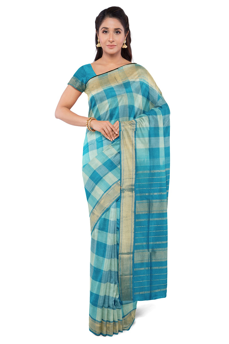 Silk Cotton Saree Sky Blue and Beige Paalum Pazhamum Checks with zari Border for Rs.Rs. 3290.00 | Silk Cotton Sarees by Prashanti Sarees