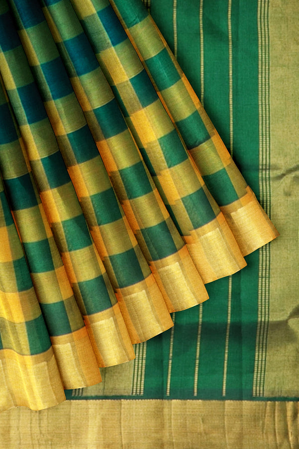 Silk Cotton Saree Honey Color and Dark Green Paalum Pazhamum Checks with Zari Border