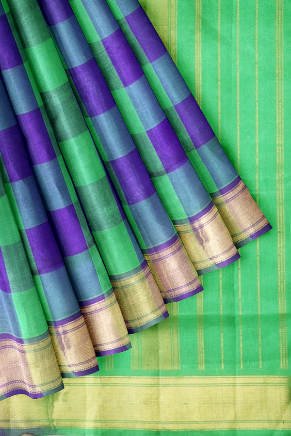 Silk Cotton Saree Blue and Parrot Green Paalum Pazhamum Checks with Zari Boredr