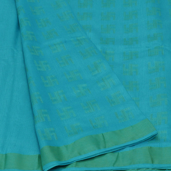 Bhagalpuri Paper silk saree Sky Blue with swastik design and simple border partly