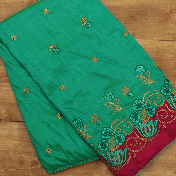 Sana Silk Saree Green with gold Embroidery and Red with Flower Embroidery
