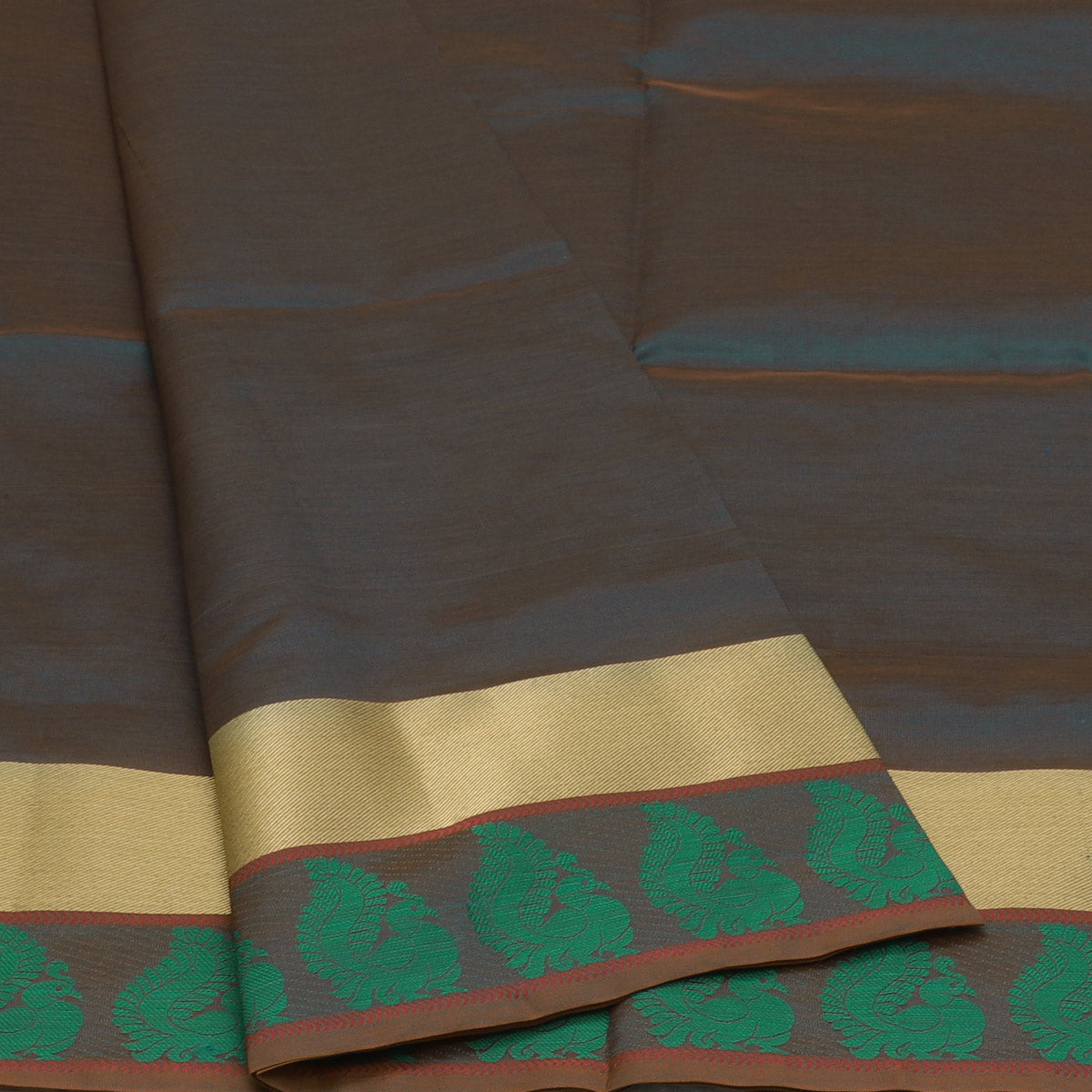 Semi Silk Cotton Saree Bluish Green and Pink with Peacock border