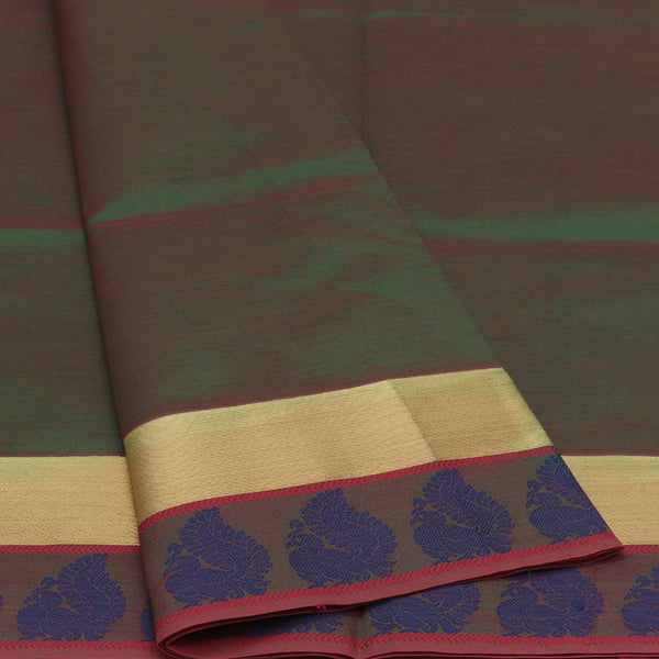Semi Silk Cotton Saree Green and blue with Peacock border