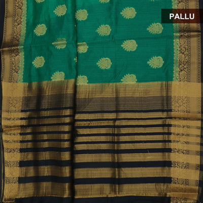 Semi Raw Silk Saree Green and Dark Blue with Flower zari border