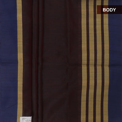 Semi Raw Silk Saree Dark Brown and Red with simple zari border