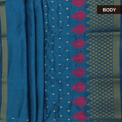 Raw silk saree Blue with zari butta and long zari border
