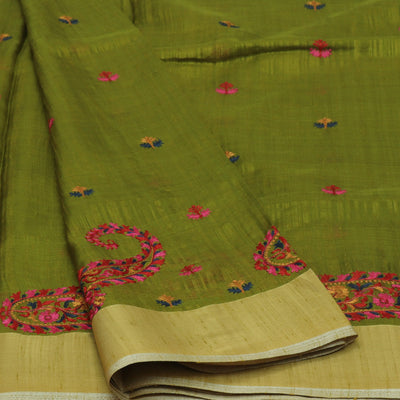 Raw silk saree Pale Green with Mango embroidery and zari border
