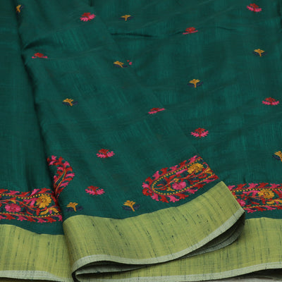 Raw silk saree Green with Mango embroidery and zari border