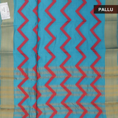 Semi Tussar Saree Sky blue and Red with bavanji border