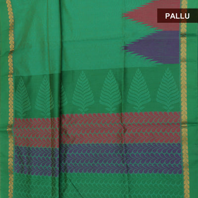 Mercerised Cotton Saree Green with Long temple border