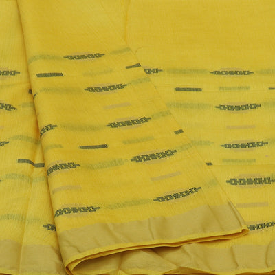 Bhagalpuri Paper Silk Saree Yellow and Black with Simple border partly