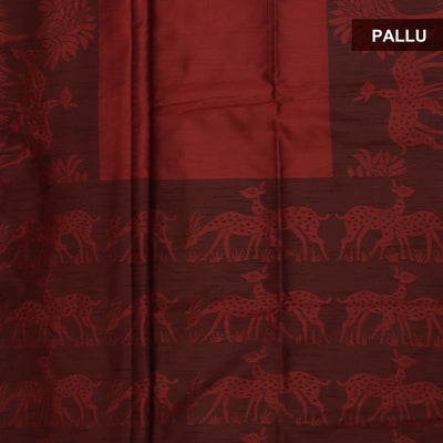 Semi raw silk saree Maroon and Black with deer border