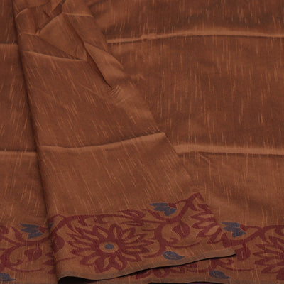 Semi raw silk saree Brown and Maroon with Flower border