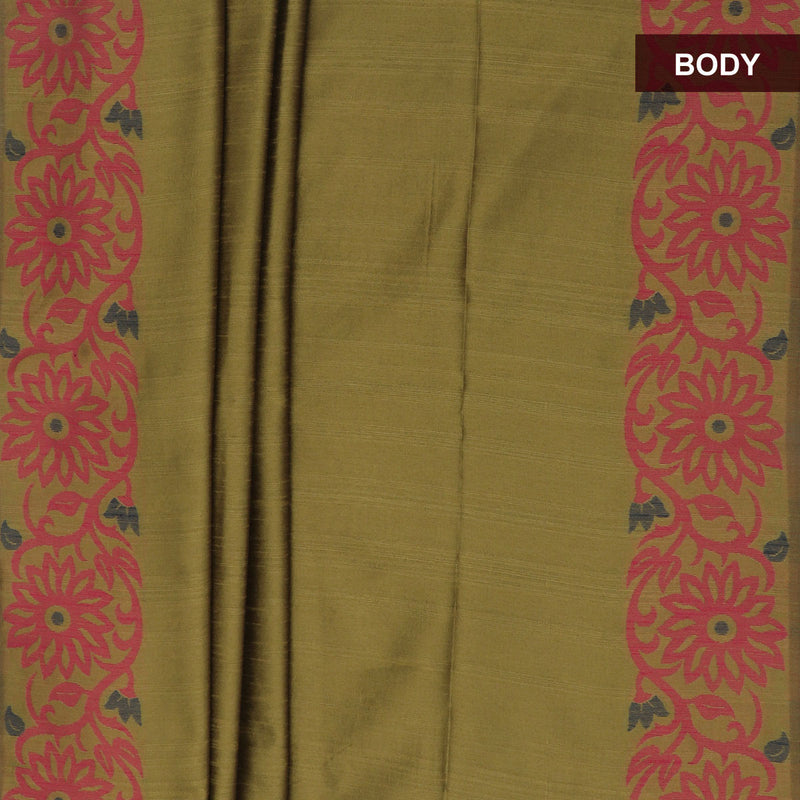 Semi raw silk saree Rust Green and Red with Flower border