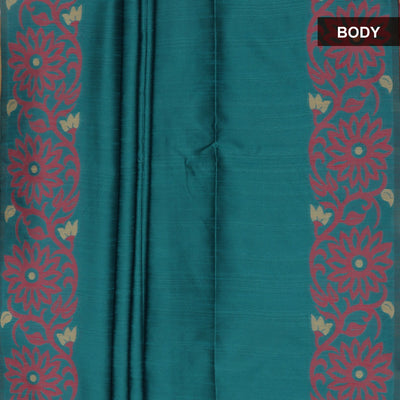 Semi raw silk saree Blue and Pink with Flower border
