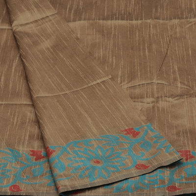 Semi raw silk saree Beige and Blue with Flower border for Rs.Rs. 1670.00 | by Prashanti Sarees