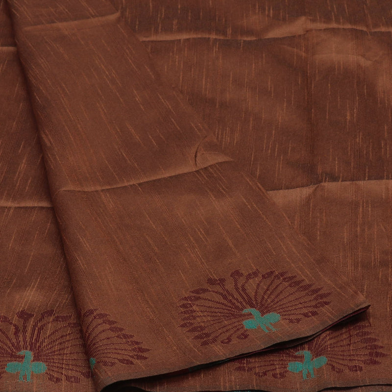 Semi raw silk saree Brown and Maroon with Peacock border