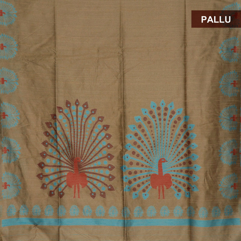 Semi raw silk saree Beige and Blue with Peacock border