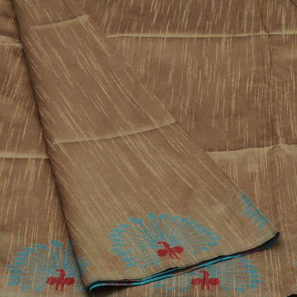 Semi raw silk saree Beige and Blue with Peacock border for Rs.Rs. 1670.00 | Semi Raw Silk Sarees by Prashanti Sarees