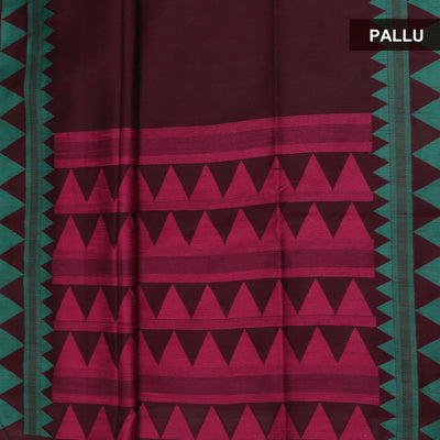 Semi raw Silk Saree Maroon and Green with Temple border