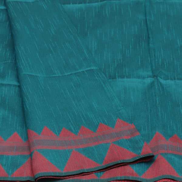 Semi raw Silk Saree Blue and Pink with Temple border