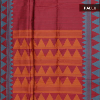 Semi raw Silk Saree Pink and Blue with Temple border