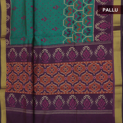 Art Silk Saree Green and Violet with Ikkat design and zari border