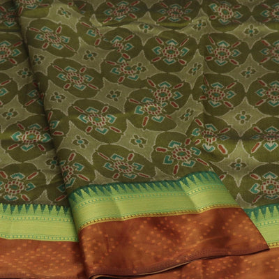 Art Silk Saree Rust Green with Temple zari border