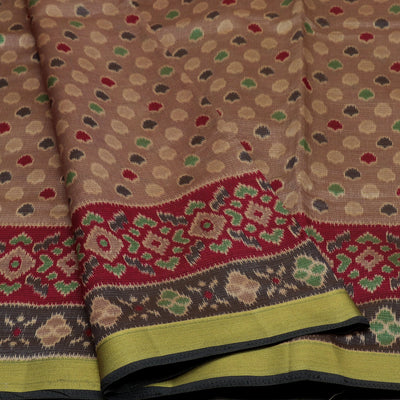 Art Silk Saree chocolate Brown and Black with Ikkat Design and Zari Border