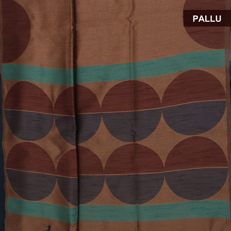 Semi raw silk saree Brown and Blue with Half Round border