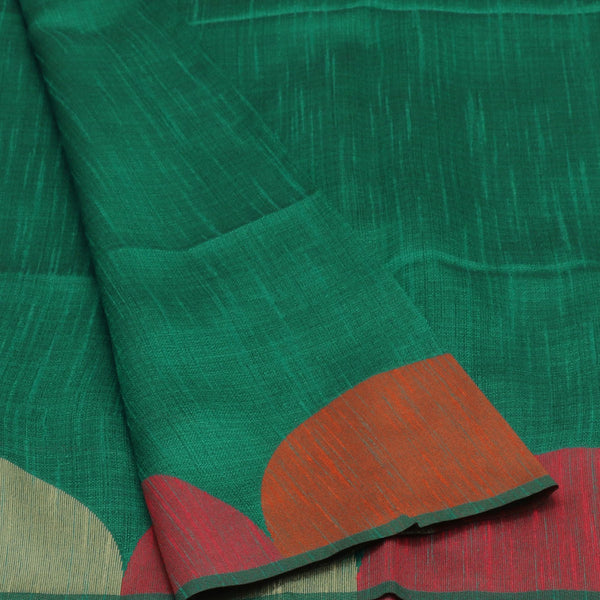 Semi raw silk saree Green and Red with Half Round border