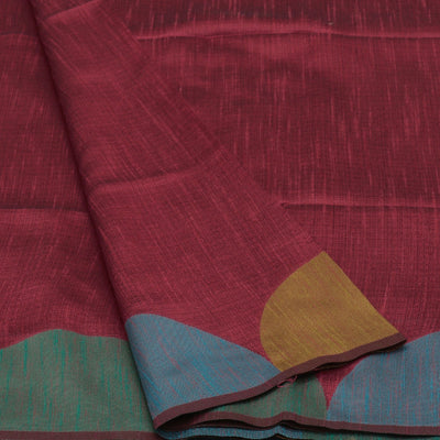 Semi raw silk saree Pink Shade and Sky Blue with Half Round border