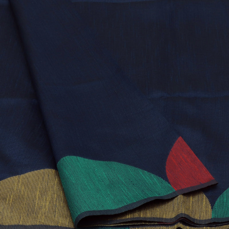 Semi raw silk saree Dark Blue and Green with Half Round border