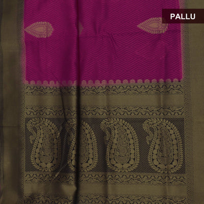 Semi raw silk saree Pink and Blue with Flower Design and Zari border