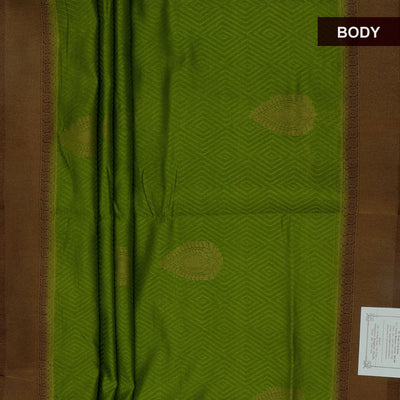Semi raw silk saree Mehandi Green and Brown with Flower Design and Zari border