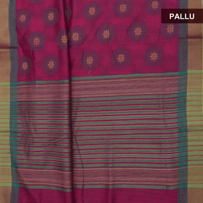 Semi raw silk saree Pink and Peacock Blue with Round Design and Zari border