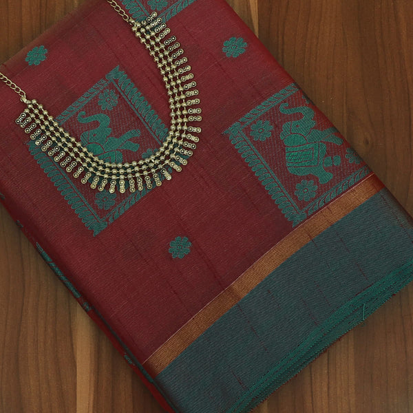 Raw Silk Saree Maroon and Dark Green Elephant Design with simple border and jewel