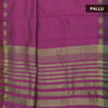 Raw Silk Saree Pink and Purple with simple wave border and jewel