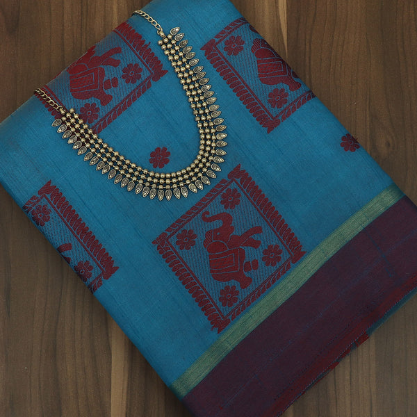 Raw Silk Saree Sky Blue and Dark Maroon Elephant Design with simple border and jewel