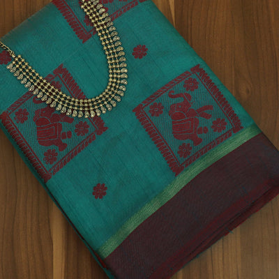 Raw Silk Saree Peacock Blue and Maroon Elephant Design with simple border and jewel
