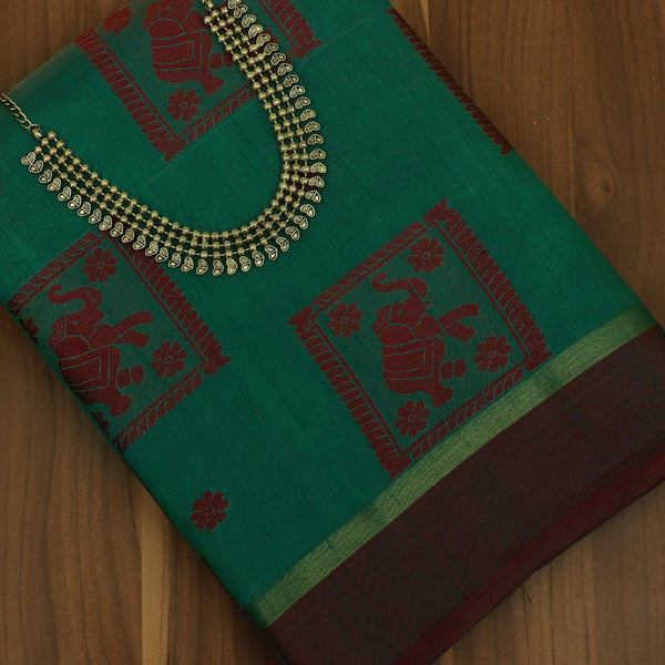 Raw Silk Saree Green and Maroon Elephant Design with simple border and jewel
