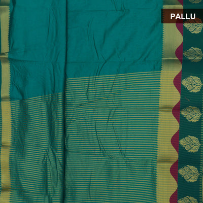 Raw Silk Saree Green with Flower Border and jewel