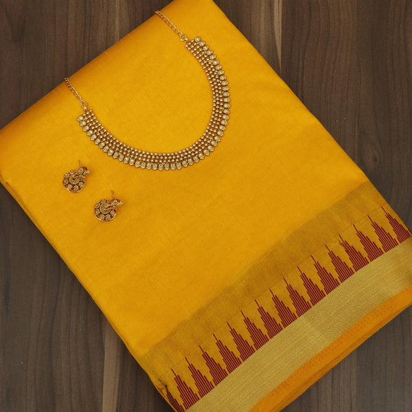 Raw Silk Saree Yellow with Zari Border and jewel