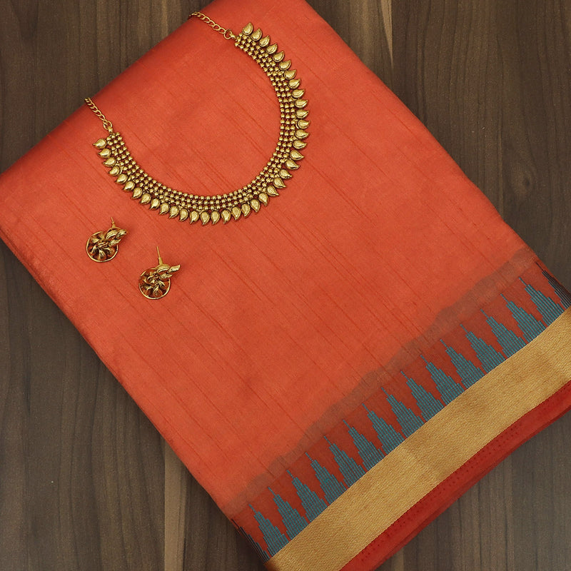 Raw Silk Saree Orange with Zari Border and jewel