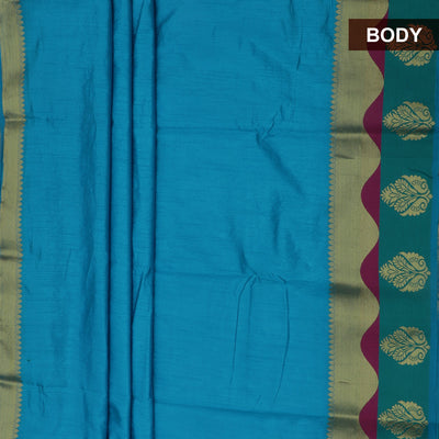 Raw Silk Saree Sky Blue and Green with Flower Design Border and jewel