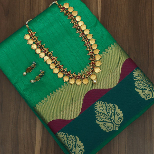 Raw Silk Saree Light Green and Green with Flower Design Border and jewel